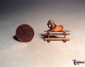 Miniature rocking horse made of wood - Item number: MRH 38