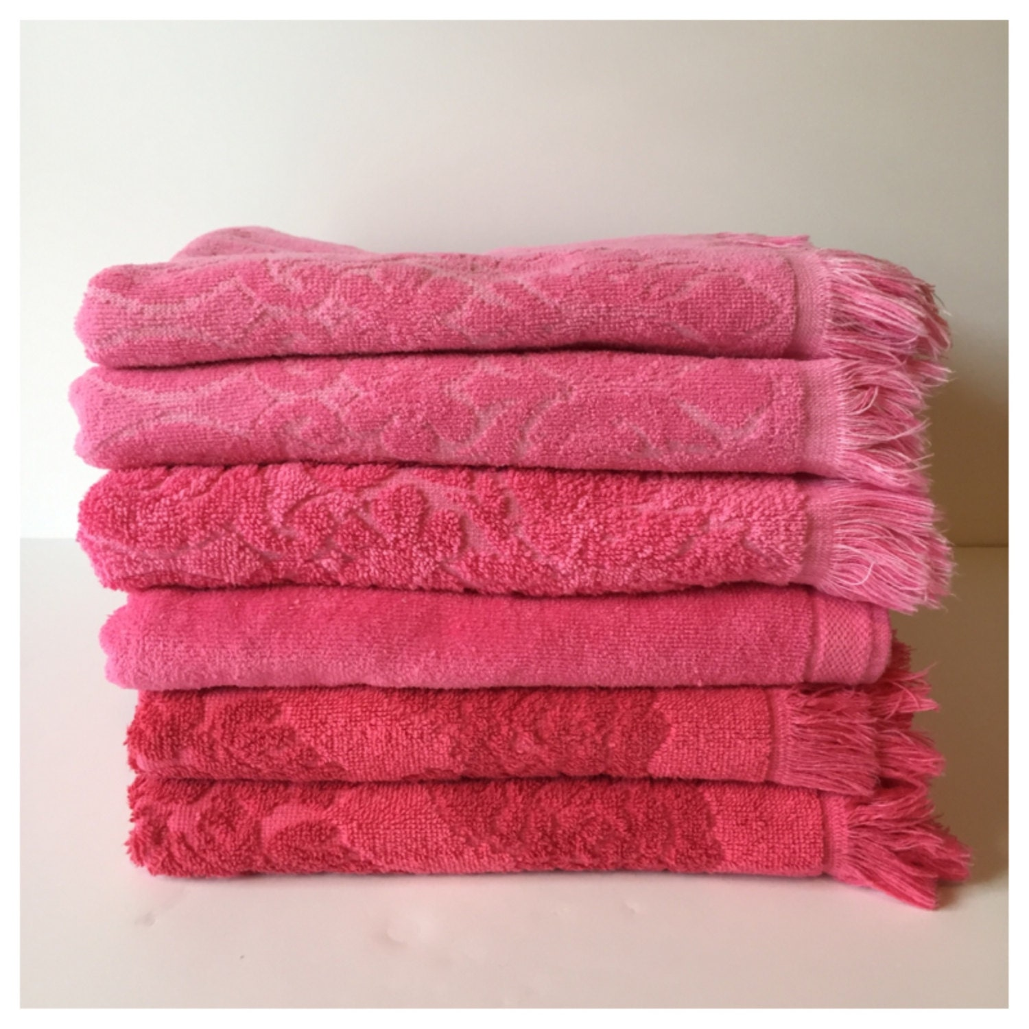 Reproduction Vintage Bath Towels: Vintage Bath Towels Six Raspberyy Towels Pink By