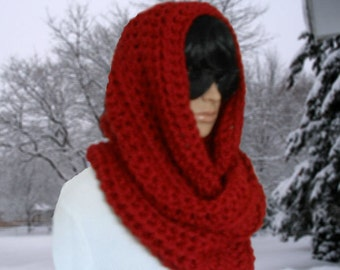 Oversized Infinity Scarf Hooded Cowl Dark Red Infinity Chunky Scarf Knit HandMade Crochet Soft Winter Scarf Womens Scarves