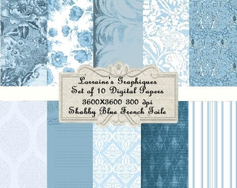 Shabby Blue French Toile:  Digital Scrapbook Paper, Set of 10 JPG Digital Papers, Instant Download, Commercial Use OK, Digital Backgrounds