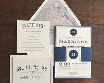 Wedding Invitation Suite // Classic and Timeless Invite // Simple and Elegant Invite // Purchase this Deposit to Get Started