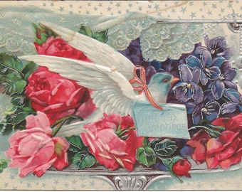 1910 Postcard Birthday Greetings with roses and a white dove