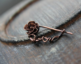 """Shawl pin, scarf pin, brooch, sweater pin, """"Old Rose"""", cardigan closure, oxidized copper metal flower pin"""