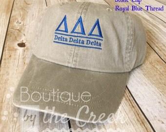 Delta Delta Delta Sorority Baseball Cap for Ladies - Pigment Dyed ΔΔΔ - Sorority Gift