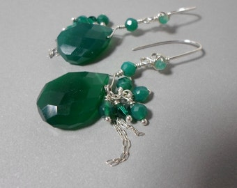 Teal Green Chrysoprase Gemstone Earrings with Cluster Dangle, Green Agate, Swarovski Crystal,Sterling Silver, HipChickJewelry, free shipping