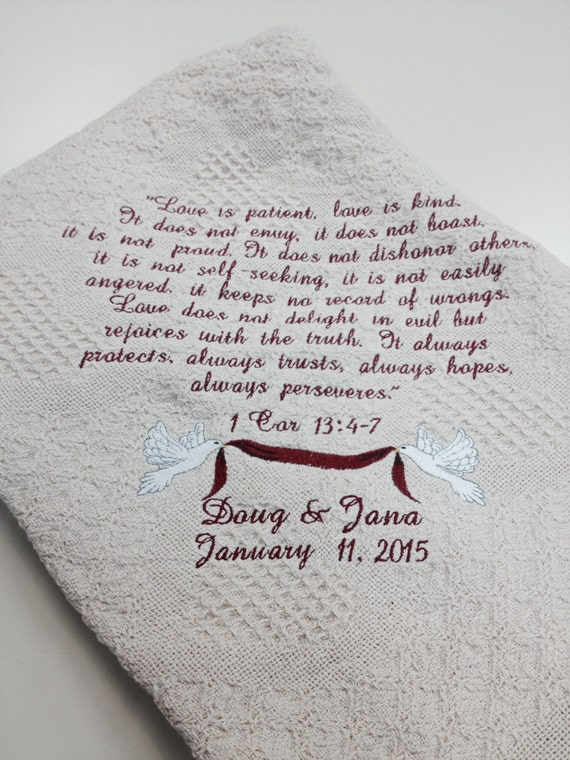 Love Is Patient Honeycomb Heart Afghan,  Wedding Gift Embroidered Throw, Couples Gift, Bride/Groom Keepsake Afghan, Anniversary