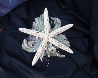 Affordable sea shell bridesmaid bouquet, beach wedding bouquet, beach wedding on budget, starfish wedding bouquet, aqua beach wedding