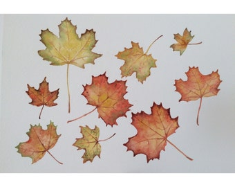 Original watercolor painting of autumn leaves - original art - wall decor