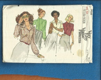 1970's Vogue 7008 Retro Classic Blouses with Gathered Shoulders  Size 10