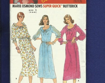 1970's Butterick 6118 Retro Country Ruffled Neckline Dresses Size 6..8..10 UNCUT