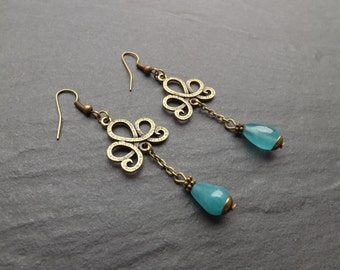 "Earrings ""anastasia"" composed of beads agate of blue duck drops"