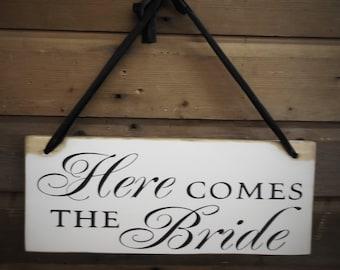 Here comes the Bride Sign, Ringer Bearer, Flower Girl - Wooden Wedding Signs