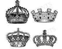 Vintage Crowns Digital Clipart - Instant Download - Commercial And Personal Use - Crown Clipart - Crown Graphics - Royal Crowns