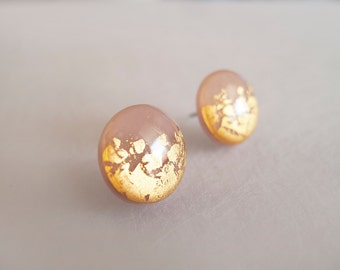 Rose and Real 23k Gold Round Stud Earrings - Hypoallergenic Surgical Steel Posts
