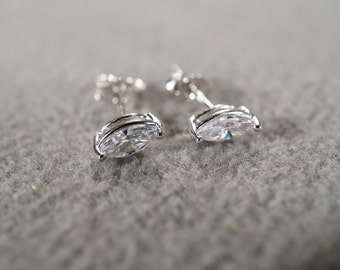 Vintage Sterling Silver 2 Marquise Shape Cubic Zirconia Classic Prong Set Stud Style Pierced Earrings      #07