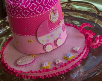 Baby Shower Gift, It's a Girl Centerpiece, Receiving Blanket Cake, Diaper Cake Alternative, Pink Baby Girl Baby Shower Centerpiece