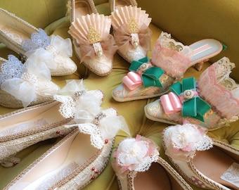 Marie Antoinette Heels Shoes Mardi Gras Edwardian Rococo Baroque Regency Lace Bridal Venetian Carnivale Historical 17th 18th Costume CUSTOM