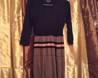 Clearance, now 24.95 - Sweater dress, beautiful and comfortable with classic black and brown stripe design.