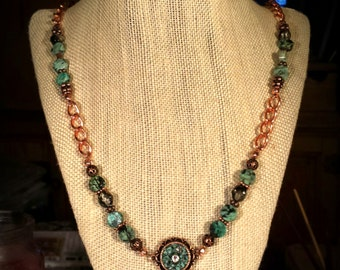 African Turquoise Discs,  Copper & Brass Accent Beads, Solid Copper Chain, Nunn Pendant with Crushed Turquoise 22 Inch Necklace Earrings