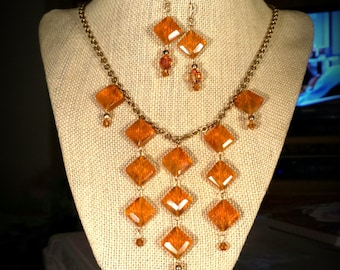 Tea Crystal Squares and Swarovski Crystals on Antiqued Gold Finished 16 Inch Necklace with Matching Crystal Earrings Bib Like Necklace