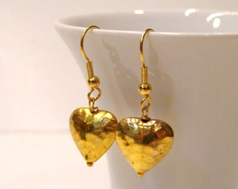 Hammered Gold Heart Earrings