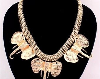African Elephant Statement Necklace