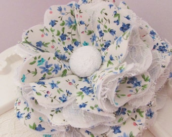 Blue / White Stitched Blossom Floral Printed Fabric Flower with White Lace Cotton Fabric Hair Accessory Brooch Kids Women Blog Giveaway Gift