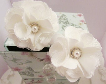 Fabric & Lace Flower Cream Satin Hair Pins CRHP119 Set of Two. Wedding Prom Bridal Bridesmaid Flower Girl Hair Accessory Satin Crystal Pearl
