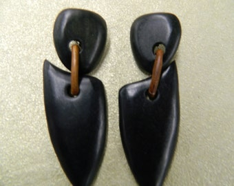 Vintage handmade natural wood clip on earrings
