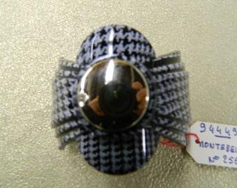 Vintage black white herringbone pony tail clip barrette mase in France