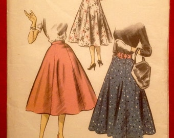Vintage 1950s Six-Gore Skirt Pattern // Advance 7834, unused, waist 30