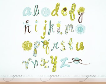 Alphabet Wall Decal - Playroom Wall Decal -Girls Room Wall Decal - Play Room Wall Decal - Toy Room Wall Decal - Girl Wall Decal - 01-0011