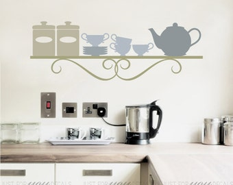 Kitchen Wall Decal - Dining Room Wall Decals - Kitchen Shelf - Wall Stickers - Custom Decals Wall Graphics - 16-0003