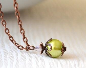 Green bridesmaids jewelry Green necklace, green bridesmaids gift, rustic wedding jewelry, woodland wedding Green jewelry