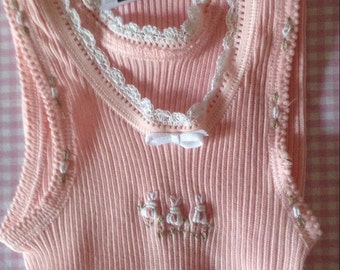 Hand embroidered baby singlet pink with white bunnies