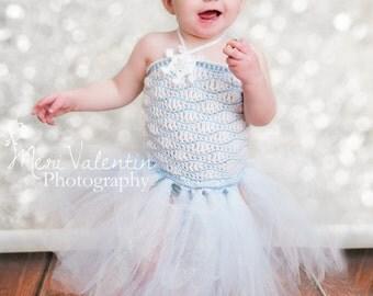Crochet baby - toddler girl Waves tutu dress- Snow ice princess - Custom made to order