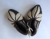 Wool Slippers, Handknit Wool Socks, Warm, Soft, Knitted Socks, Men's and Women's Slippers In Traditional Bulgarian Patterns: Brown Varna