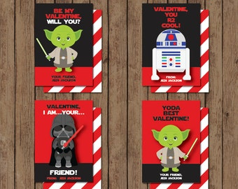 Star Wars Valentine Cards - PRINTABLE - Personalized - 2 Easy to Print Backside Designs Included