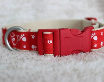 Red/White Dogs and Paws Hemp Collar