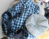newsboy cap, shirt and suspenders
