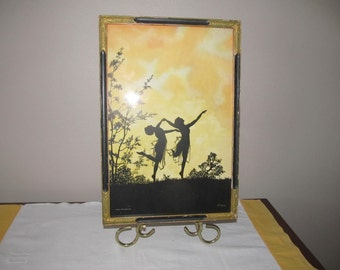 Painting of fairy silhouettes Wall hanging; Silhouettes dancing in moonlight; painting by B. Major; nymphs in moonlight;