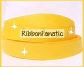 """5 yds 7/8"""" Yellow Sparkle Solid Color Glitter Grosgrain Ribbon"""