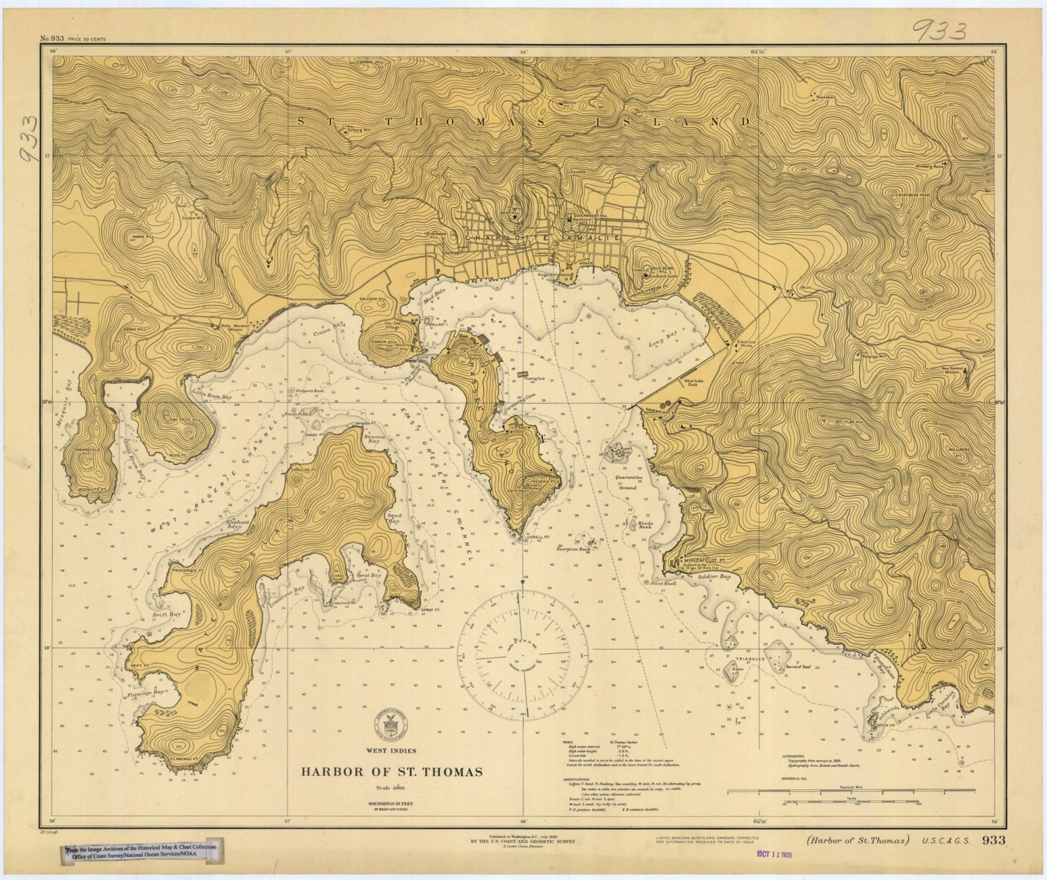 Nautical map virgin islands