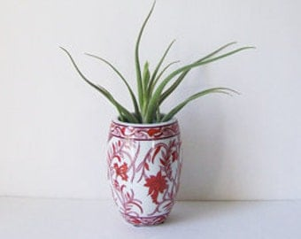 Small Asian Red, Pink and White Floral Vase