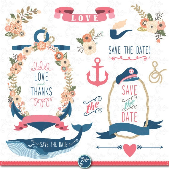 WEDDING FLORA NAUTICAL quot  clip art Vintage Flowers Floral Frames  Anchor    Wedding Anchor Clip Art Free