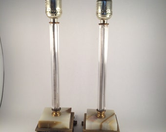 Pair of Onyx and Brass Lamps