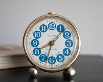 Slava Alarm Clock - NOT WORKING, Blue Circles Desk Clock, Russian Desk Clock, Slava Soviet Union, Dots, Geometric, Modern