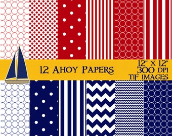 AHOY It's a Boy Nautical Red White and Blue Digital Scrapbook Papers Instant Download