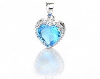 925 Sterling Silver Heart Pendant, Blue Zircon, Pkg of 1pc, CB066