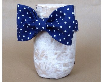 Navy Blue and Cream Polka Dot Bow Tie